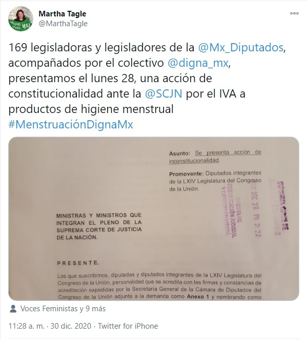 Diputados SCJN menstruación libre de IVA