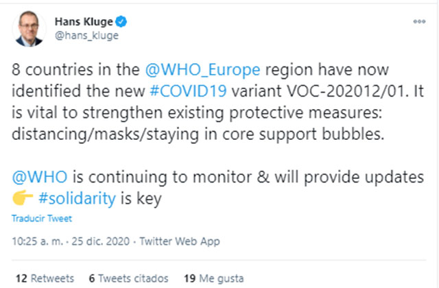 Tuit de Hans Klugue de la OMS