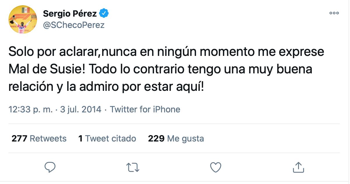 Impresión de pantalla de Twitter @SChecoPerez