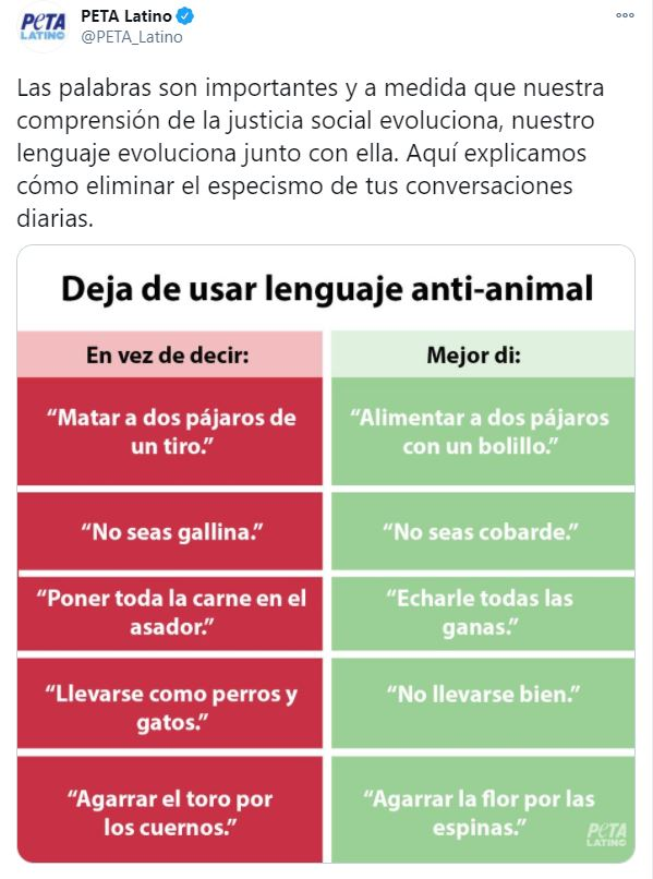PETA lenguaje antianimal