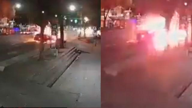 Un video muestra como los arrancones en Eje Central de la CDMX causan choque, incendio y el atropello de un ciclista