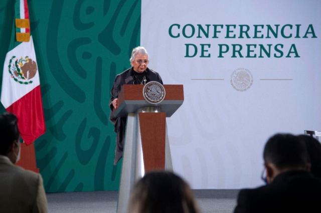 Olga Sánchez Cordero suplió al presidente López Obrador en su conferencia de prensa matutina