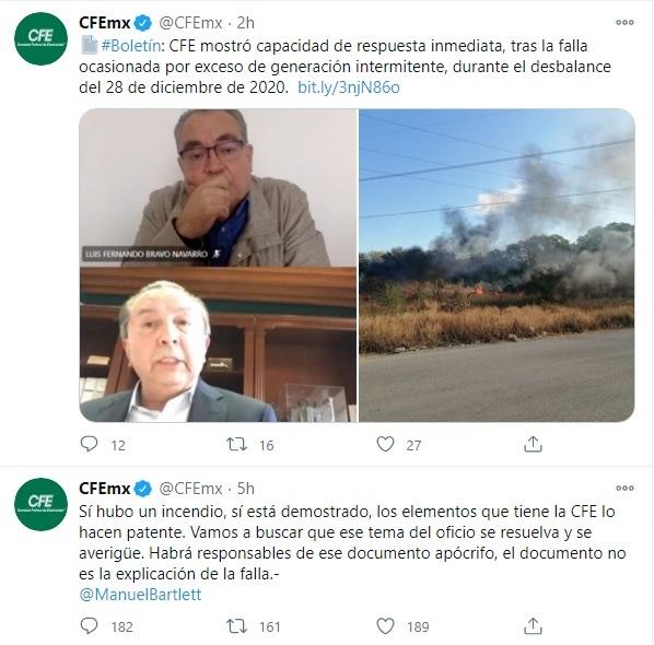 CFE incendio apagón