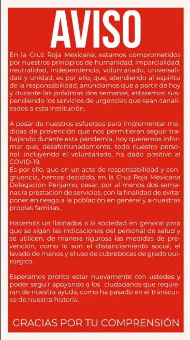 Cruz Roja Delegación Pénjamo suspendió servicios