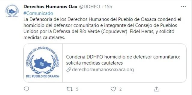 Derechos Humanos Oaxaca condena asesinato defensor comunitario Fidel Heras Cruz