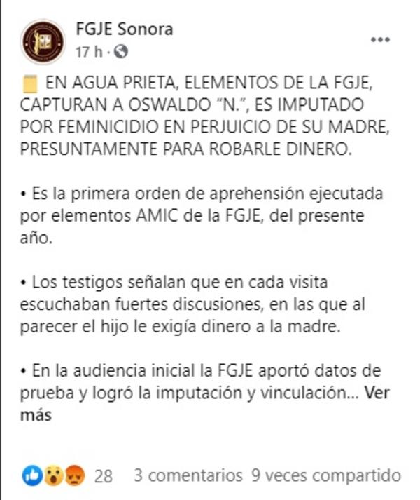 FGJE Sonora sujeto mató a golpes a su propia madre