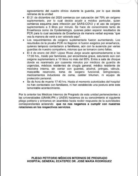Documento 2 médico murió COVID-19 trabajaba sin protección