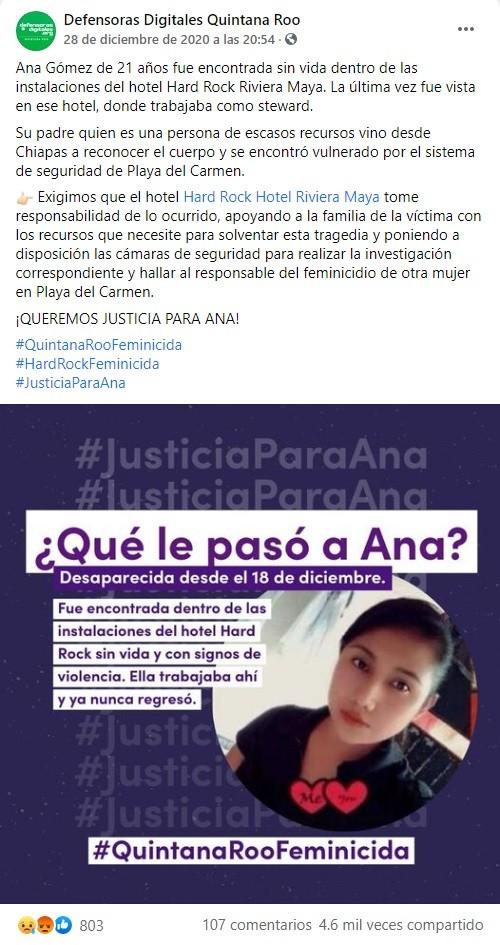 justicia Ana Gómez originaria Chiapas asesinada Playa del Carmen
