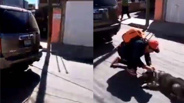 Un video muestra como una mujer arrastra a un perrito en su camioneta por las calles de Puebla; alegó que no se había percatado