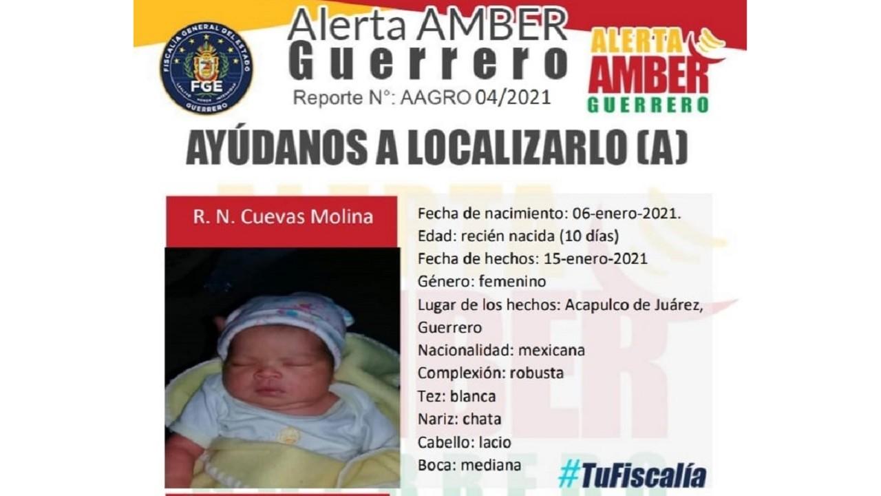 Reportan desaparecida bebé diez días de nacida Acapulco