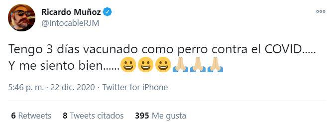 Ricardo Muñoz vacuna contra COVID-19