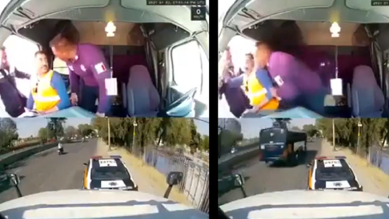 Video policías asaltan golpean chofer tráiler autopista México-Querétaro