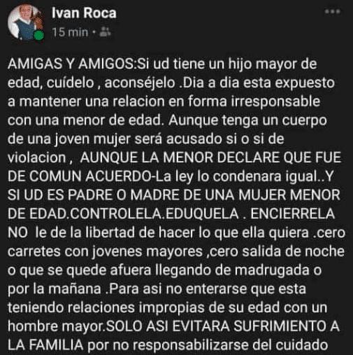 """Político chileno defiende a su hijo de violar: """"está expuesto a mantener una relación con una menor de edad""""."""