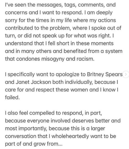 Justin Timberlake se disculpa Britney Spears y Janet Jackson por su ignorancia