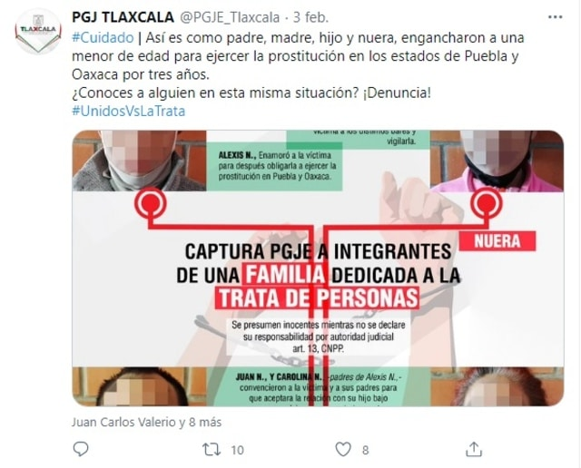 PGJ Tlaxcala familia trata de personas