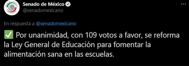 En Senado de México aprobó una ley que prohíbe la venta de comida chatarra en las cooperativas de las escuelas