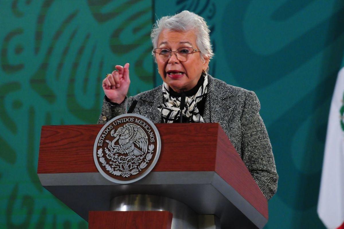 Olga Sánchez Cordero en la conferencia de prensa matutina