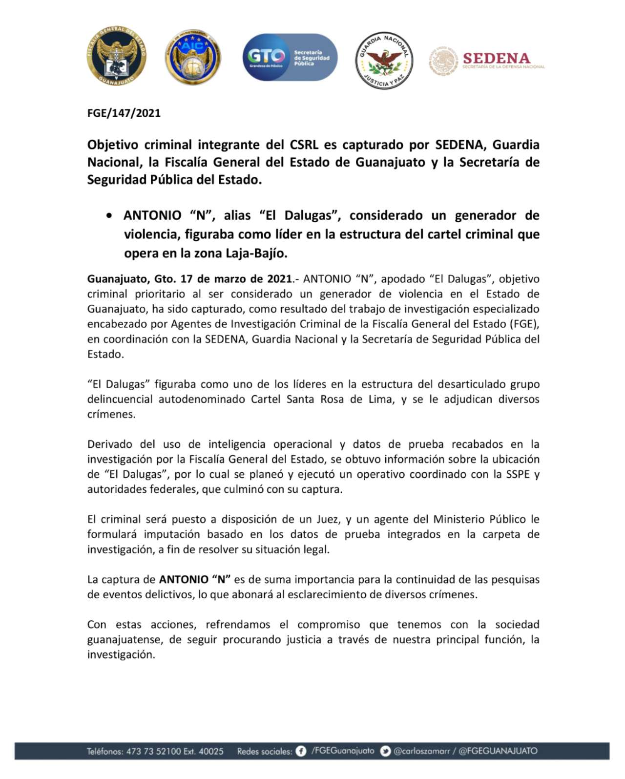 Detención El Dalugas líder Cártel Santa Rosa de Lima