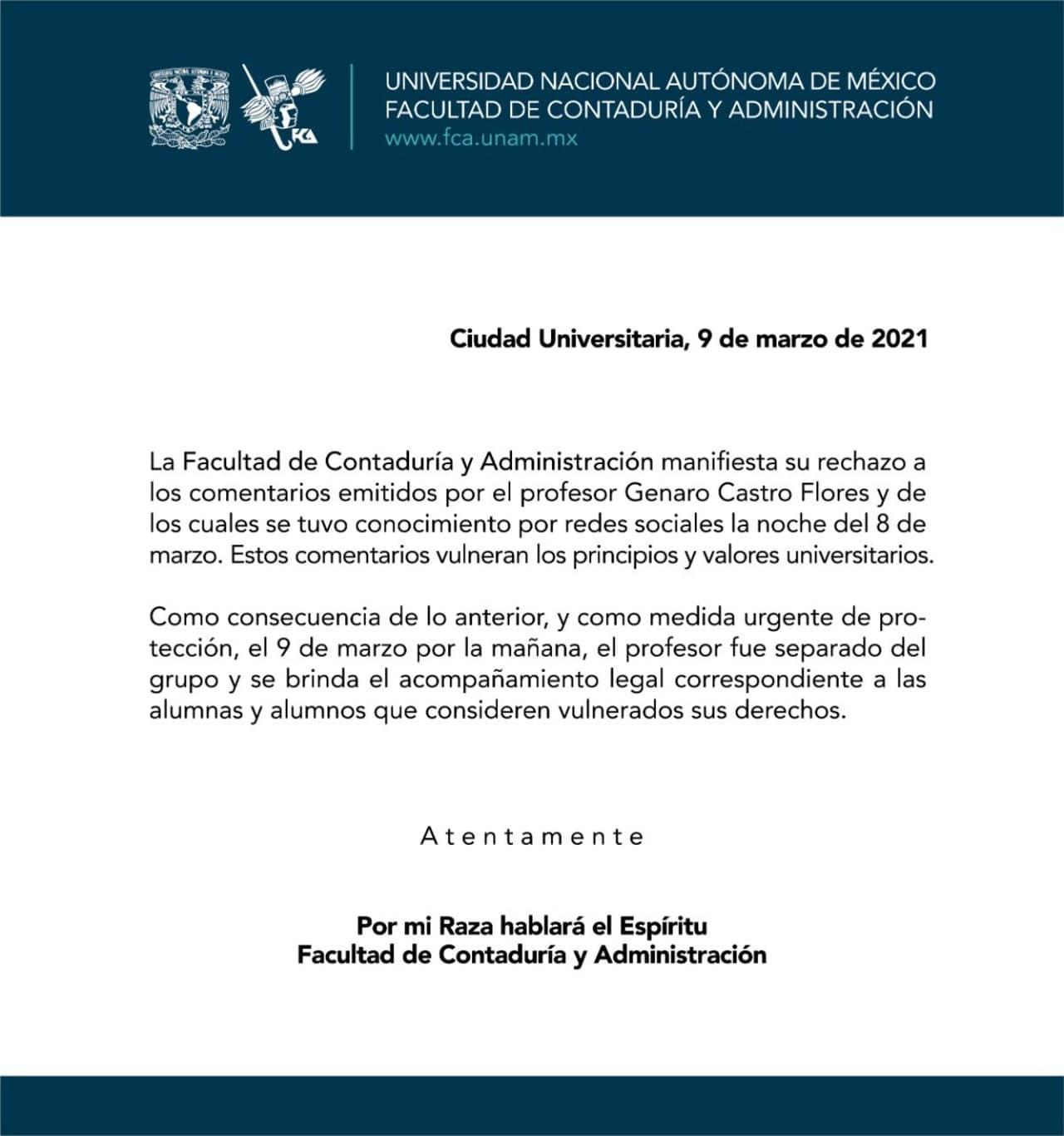 UNAM separa cargo profesor FCA justificó feminicidios 8M
