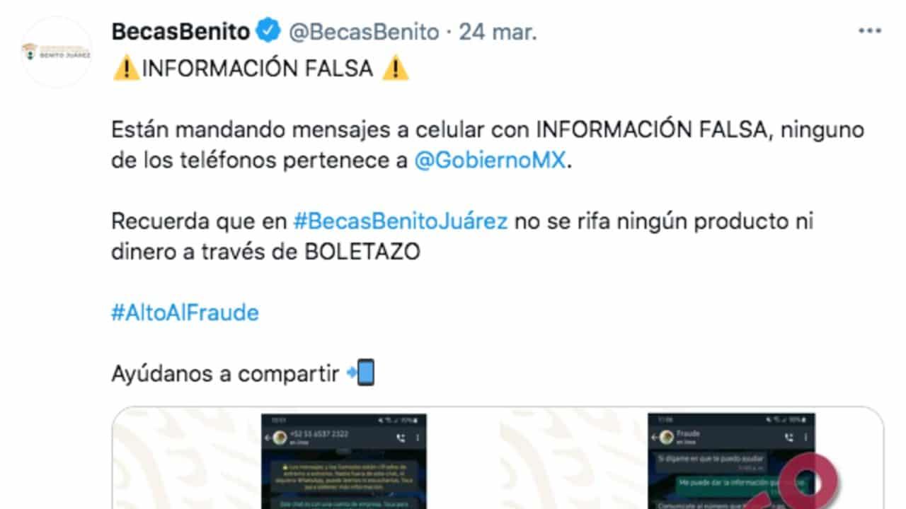 Beca Benito Juárez Desmiente Rifa 200 mil pesos