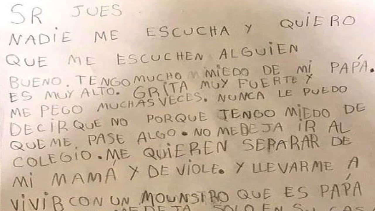 Carta niño Argentina contra papá abusador