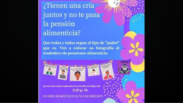 Convocatoria feminista denunciar a padres deudores de pensión alimenticia