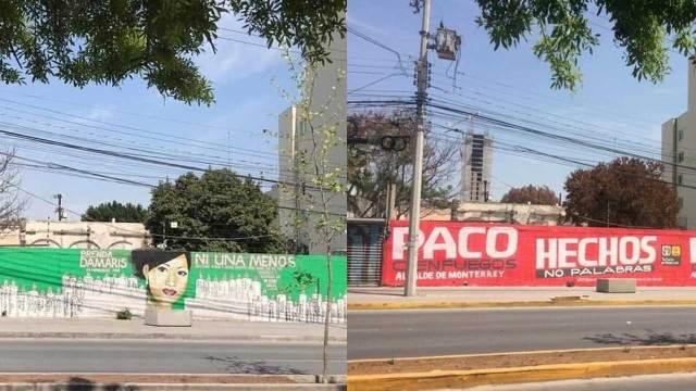 PRI borran memorial feminicidio Monterrey
