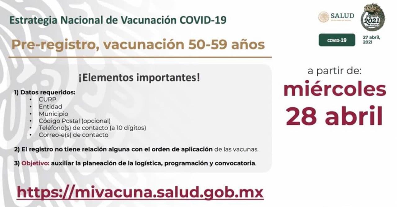 Registro vacuna contra COVID 19 50 y 59 años
