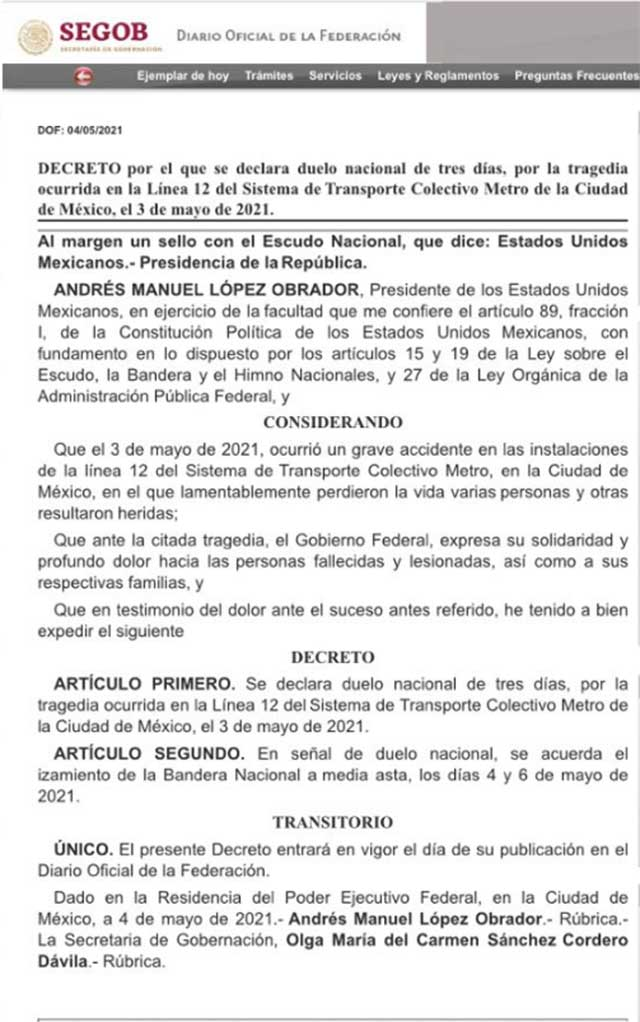 Luto nacional derrumbe Metro CDMX