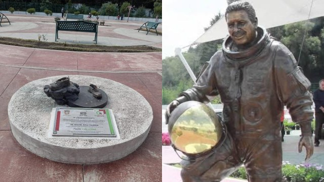 roban estatua de José Hernández en Zinacantepec