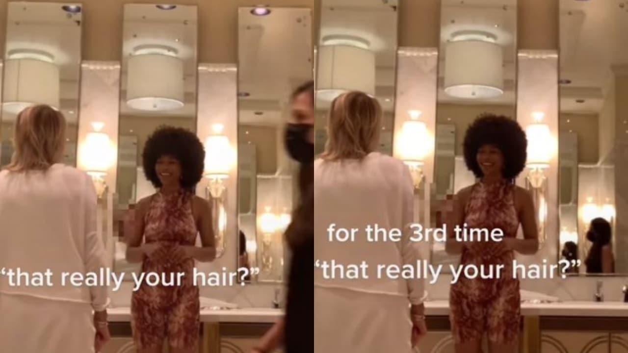 Mujer intenta tocar afro de mujer negra y le falta al respeto