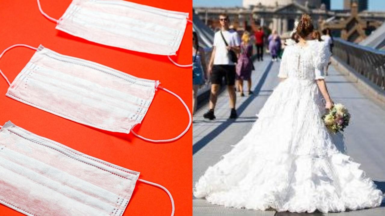 Crean vestido de novia con cubrebocas en Londres