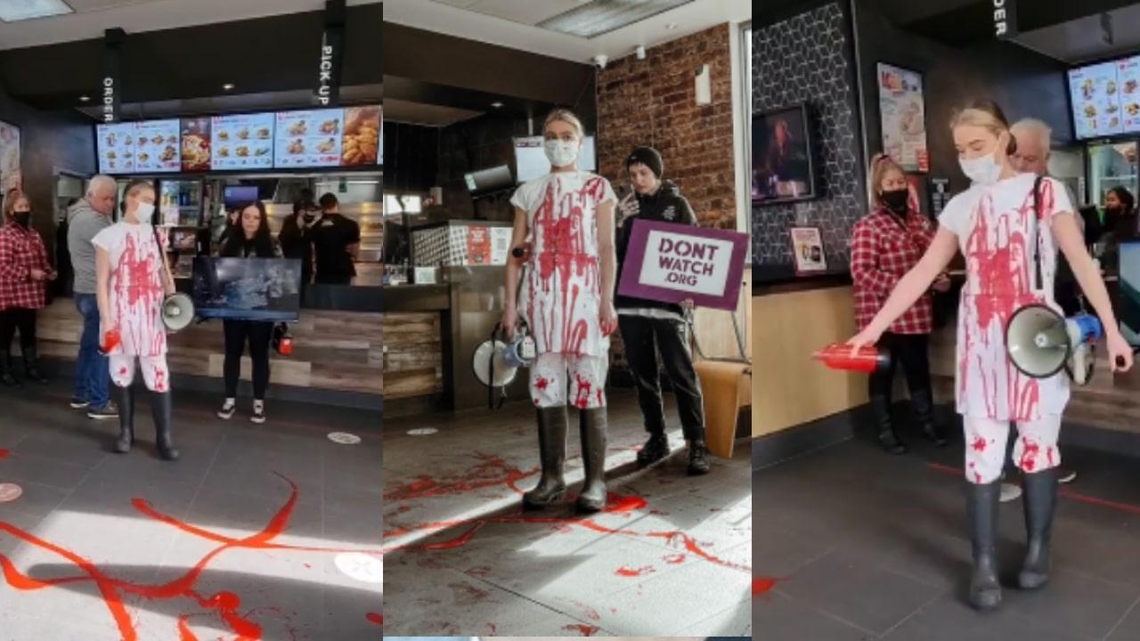 Activista vegana acusó a clientes de local de comida