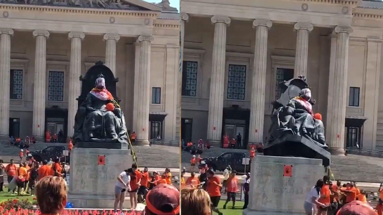 Tras quemar iglesias, en Canadá derrumban estatuas de las reinas Isabel y Victoria