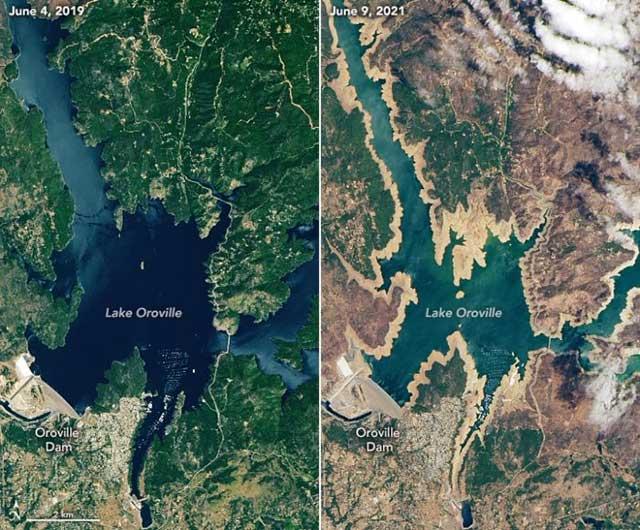 Fotos de la NASA revelan los efectos devastadores de la sequía en California