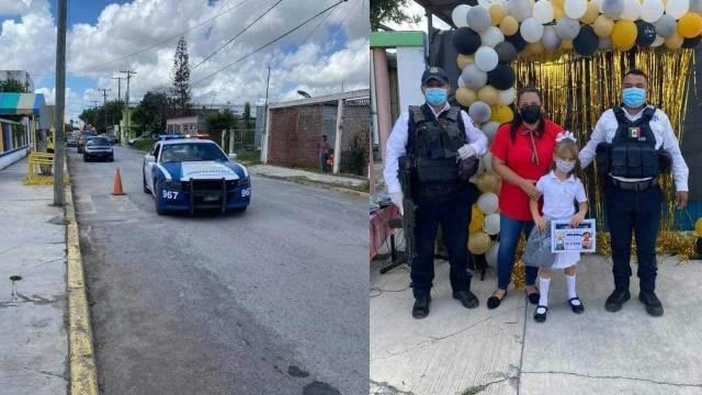Policías apadrinan a niña en su graduación del kínder