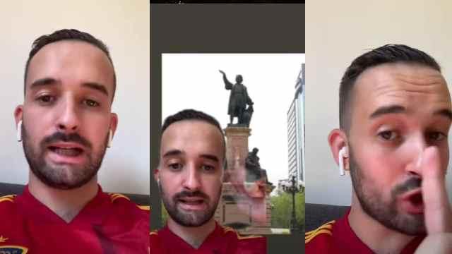 Español se queja del retiro estatua Cristóbal Colón