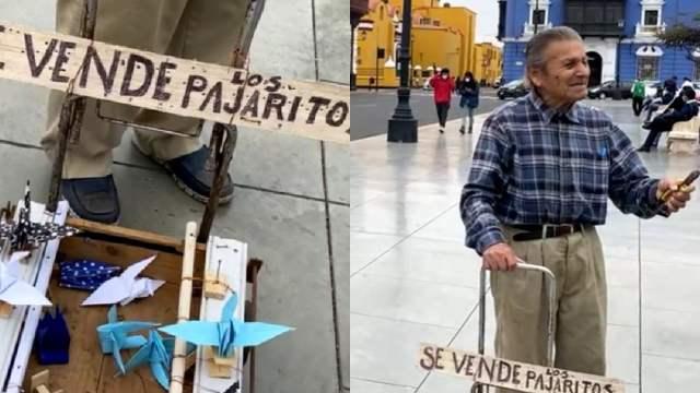 Trujillo: anciano de 94 años recorre calles y expende aves de papel
