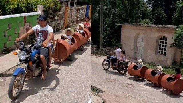 Padre Yucatán Fabricó Humilde Tren Pasear Hijos