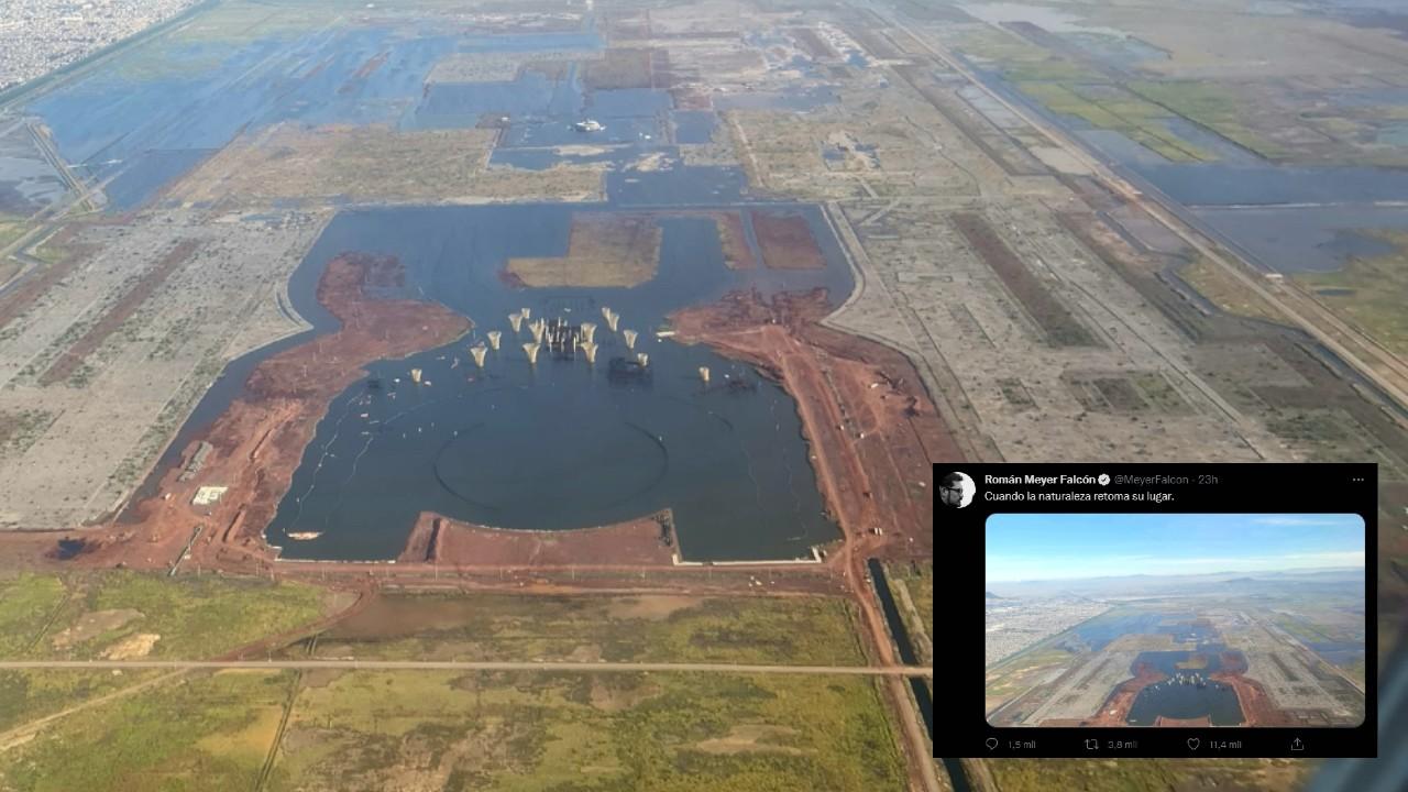 """""""Naturaleza retoma su lugar"""". FOTO del NAIM inundado causa revuelo en las redes"""