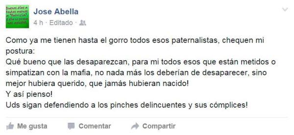 José Avella dueño del Buen Tono escribió esto en su muro