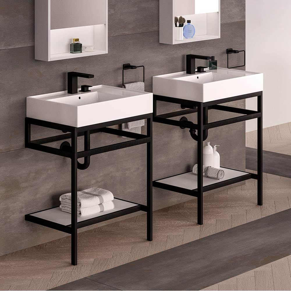wall mounted or vessel porcelain washbasin with overflow 24 w x 1