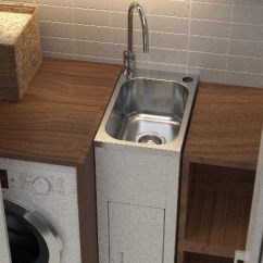 Small Kitchen Sinks Stainless Steel Table Top Compact Laundry Tub And Cabinet - Plumbing Connection