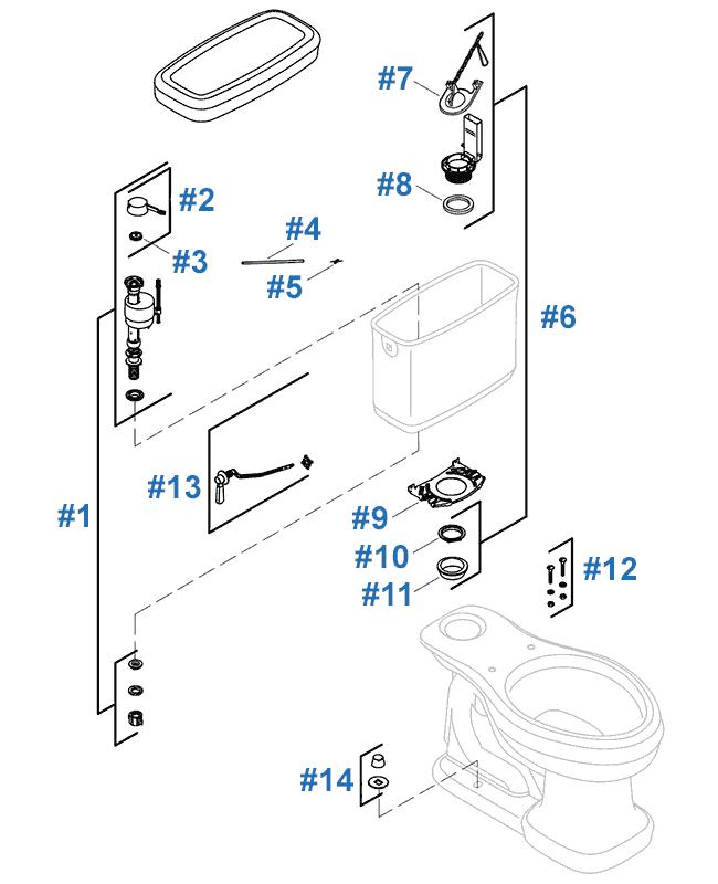 Toilet Tank Parts Diagram : toilet, parts, diagram, Replacement, Parts, Kohler, Bancroft, Toilet