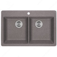 Gray Kitchen Sink Lowes Black Blanco Horizon 210 Silgranit Double Bowl Drop In Metallic