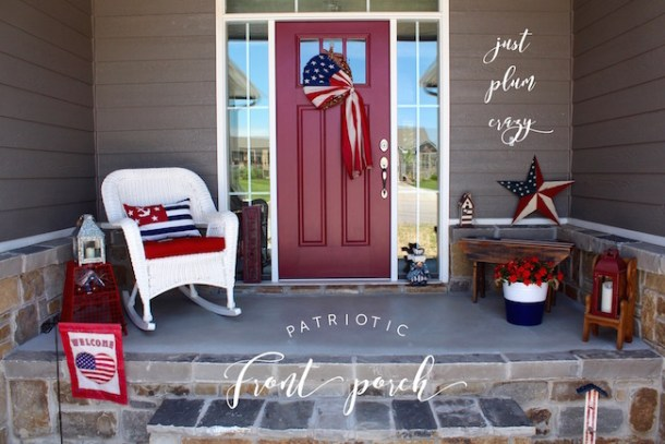 Patriotic Porch - red, white & blue small spaces decorations. I leave my patriotic decorations up throughout the summer from Memorial Day to Labor Day.