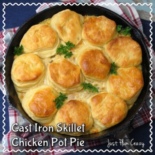 Cast Iron Skillet 4 Ingredient Chicken Pot Pie Recipe #NationalPotPieDay