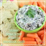 Skinny Spinach Dip with Baked Shamrock Chips Recipe