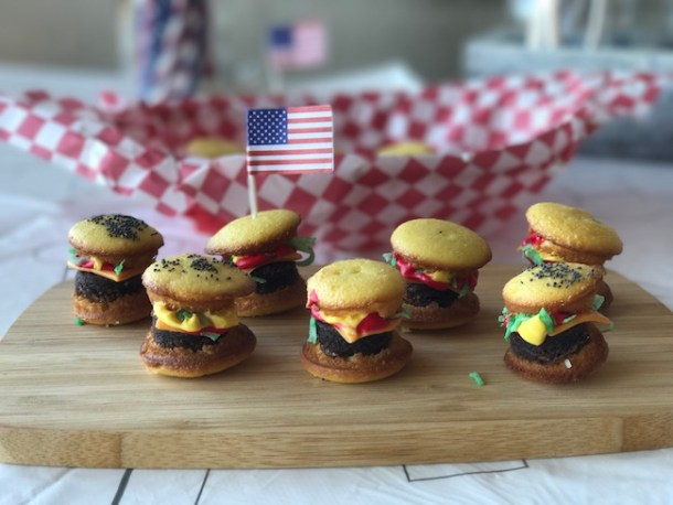 The Mini Hamburger Cupcakes Recipe is just too cute. Check out our Mini Ice Cream Cone Cupcakes recipe for our Country-Fried Krystal BBQ party.