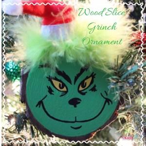 wood slice grinch christmas ornament craft - Grinch Christmas Ornaments